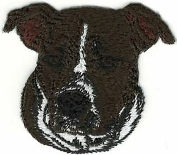 Chocolate Staffordshire Bull Terrier Portrait Dog Breed Embroidery Patch