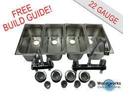 4 Compartment Concession Sink Portable Food Truck Trailer Hand Washing W/faucets