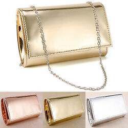 Small Minimalist Glossy Metallic Clutch Bag Evening Bags Carry Purse Cross Body $14.99