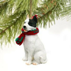 Pit Bull Terrier White Dog Tiny One Miniature Christmas Holiday ORNAMENT