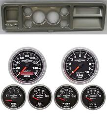 73-79 Ford Truck Silver Dash Carrier W/ Auto Meter 3-3/8 Sport Comp Ii Gauges