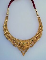 Traditional Design 20k Gold Necklace Choker Handmade Jewelry Rajasthan India