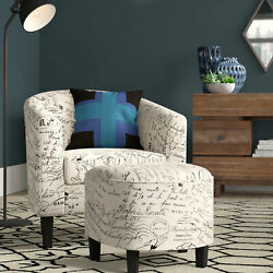 Accent Chair With Curved Back And French Print W/ Ottoman Modern Armrest Beige
