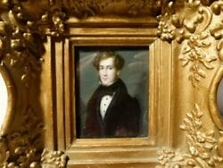 1834-39 Jean Christophe Alexandre Of Florence Self Portrait Miniature Framed
