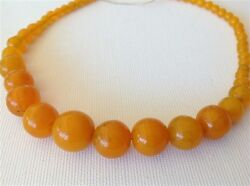 Antique Chinese Glass Amber Color Trade Beads 47 Gram Necklace M1076