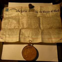 1877 Official Royal Letters Patent Document And Grand Wax Seal Hull Alcohol Locust