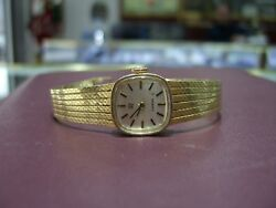 Vintage Ladies Omega Winde Up Watch Solid 14k Gold Year 1960and039s Swiss Wow