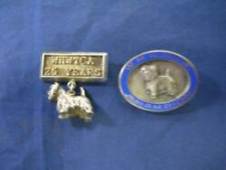 STERLING SILVER Westie Terrier CHAMPION and 25yr membership award pins - READ...