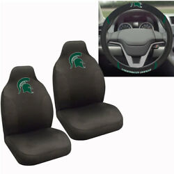 New Ncaa Michigan State Spartans Car Truck Seat Covers And Steering Wheel Cover