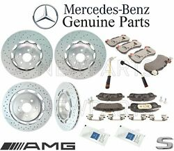 For Mercedes W222 C217 Front & Rear Brake Pad Sets 2 Disc Rotors Sensors Kit