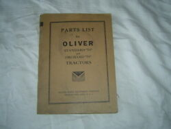 1939 Oliver 70 Standard And Orchard Tractor Parts List Catalog Manual