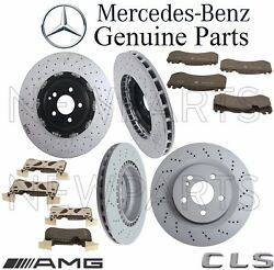 For Mercedes W219 CLS63 AMG Front & Rear Brake Pad Sets & 2 Disc Rotors Kit