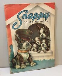 Vtg Coloring Book WWII Home Front 40's Coloring Book Boston Terrier Dog Military