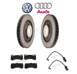 Front Disc Brake Pad Wear Sensor And Two Disc Rotors Kit Genuine For Audi S6 S7 S8