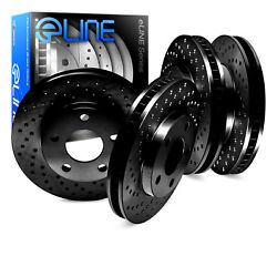 BLACK EDITION ELINE [FRONT+REAR] CROSS DRILLED PERFORMANCE BRAKE ROTORS D1948