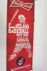 Cleveland Indians Budweiser Large Vinyl Sign Our Pastime Our Beer The Drummer