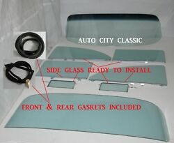 Glass 1955 1956 Chevrolet 2dr Sedan Windshield Back Vents Door Quarter Assembled