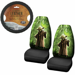 New Star Wars Yoda Jedi Master Car Truck Front Seat Covers Steering Wheel Cover