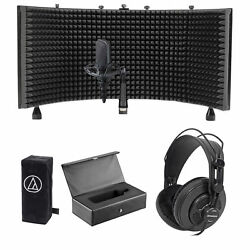 Audio Technica AT4033A Condenser Microphone+mount+Cover+Case+Headphones+Shield