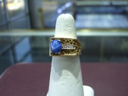 Vintage Fine Menand039s Star Sapphire Diamond Yellow Gold Nugget Pinky Ring Size 7.5