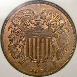 1864 Two Cent Very Rare Fs-001.8 Reverse Indian Head Clash And Qpd Anacs Ms 64 Rb