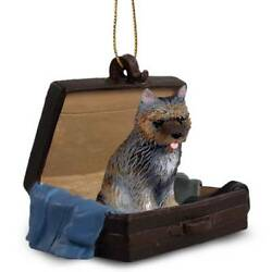 Cairn Terrier Brindle Traveling Companion Dog Figurine In Suit Case Ornament