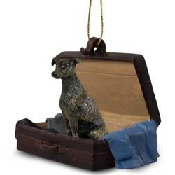 Greyhound Brindle Traveling Companion Dog Figurine In Suit Case Ornament