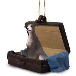 Greyhound Gray Traveling Companion Dog Figurine In Suit Case Ornament