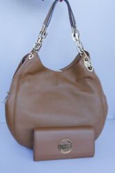 NWT Michael Kors Luggage Fulton Chain Large Shoulder Tote Bag And Wallet