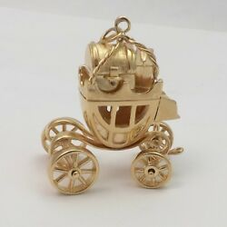 14k Gold 3d Travel Stage Coach Carriage Charm Pendant Articulated Large 27gr