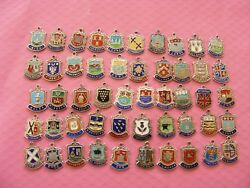 4 Various Vintage Sterling Silver Charm Charms Uk Travel Shield Crest