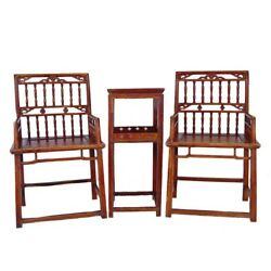 Chinese Antique Southern Officialand039s Hat Armchairs Set