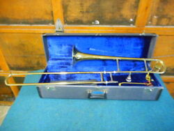 Huttl Brass Trombone W/ Blessings Mouthpiece / Case / Music Stand W. Germany 1