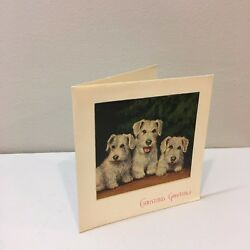 Vtg Christmas Card 30's 40s Art Deco Wire Fox Terrier Dog Puppies