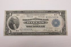 1918 1 Dallas Tx Federal Reserve Note Fr742 Large Size Note [450a] [d]