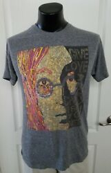 John Lennon Gray T Shirt Adult Large Give Love A Chance Newspaper Face Collage