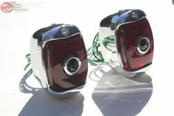 40-53 Chevy Gmc Truck Rear Chrome Blue Dot Tail Lamps License Plate Light Pair