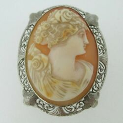 Victorian 10k White Gold Carved Conch Shell Brooch Pin