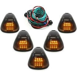 5 Smoke Cab Marker Light W/ Amber Led Assembly And Wiring Fits 99-16 Ford 250-550