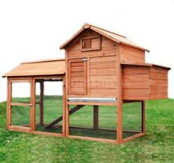 Deluxe Backyard Wood Wooden Chicken Coop Pets Hen House Cage w Outdoor Run I2W0