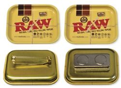 Both Rawthentic Raw Tiny Tray Pins 1.8andrdquo X 1.4 X .04andrdquo Pin Back And Magnetic