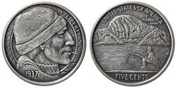The Fisherman Hobo Nickel 1 oz .999 Silver Round - Antiqued Finish