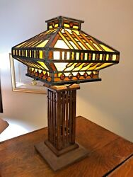 Antique Lead Glass Lamp With Wooden Base Era 1920's 25 Tall