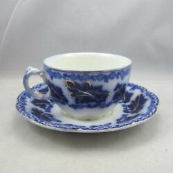 Antique Johnson Brothers China Normandy Flow Blue Coffee Or Teacup And Saucer