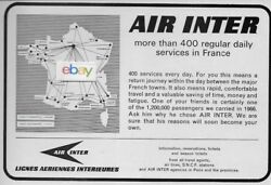 Air Inter France 1967 400 Regular Service Daily Flights France Route Map Ad
