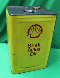 Very Rare Japanese Shell Tellus Oil Gas Can 4.75 Gal 18l Sign / Advertisement