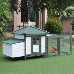 Large 77'' Chicken Coop Wooden House Small Animal cage Habitat Backyard w Run
