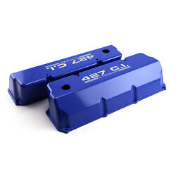 Ford 302 351c Cleveland 427 Blue Aluminum Valve Covers - Tall W/ Hole
