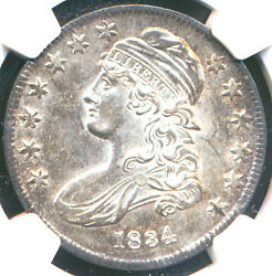 1834 50c Large Date Large Letter Au58 Ngc-pq-capped Bust Half Dollar