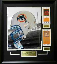 Miami Dolphins L. Csonka And B. Griese Super Bowl Vii And Viii Helmet Framed Picture